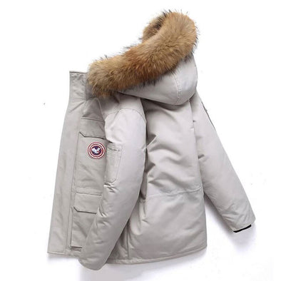 Winter Down Jacket Real Fur Collar Hooded Thick Parka Overcoat