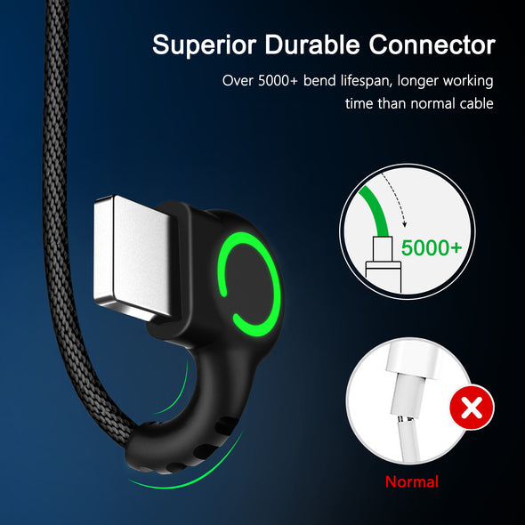 New 90 Degree Fast Charging L Type cord data Charger For iphone