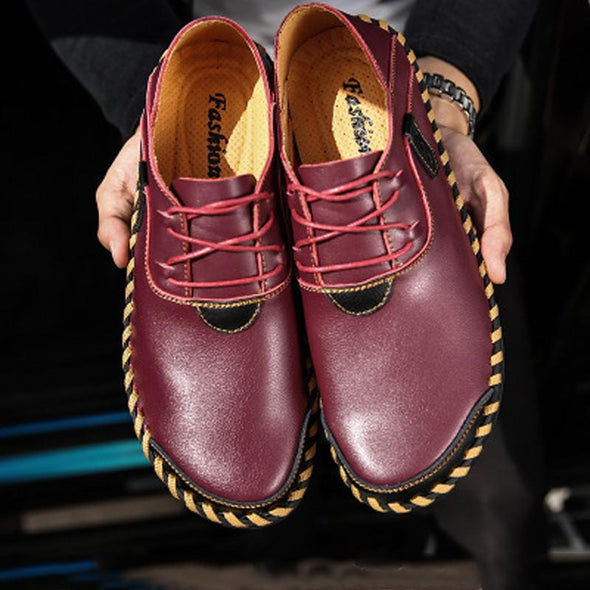 Male Soft Flat Stitching Manual Casual Oxford Shoes