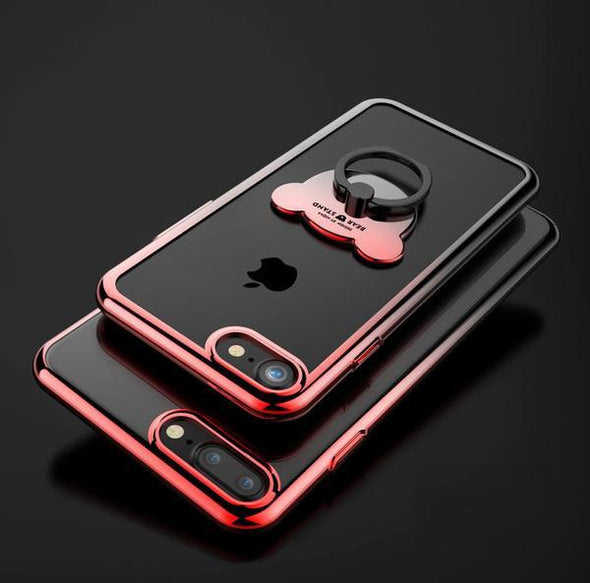 Phone Case - Luxury Gradient Bear Stand Holder Case For iPhone