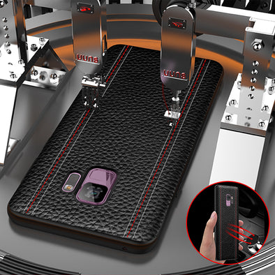 New Luxury Litchi Leather Shockproof Support Car Magnetic Case For Samsung