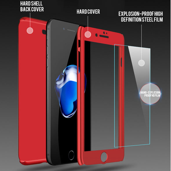 Luxury 360 Protective Case For iPhone With Tempered Glass