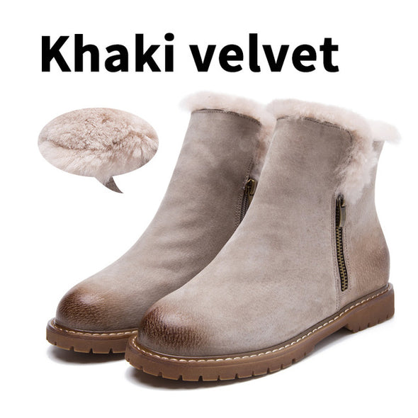 New Arrival Pig Suede Plush Warm Ankle Boots