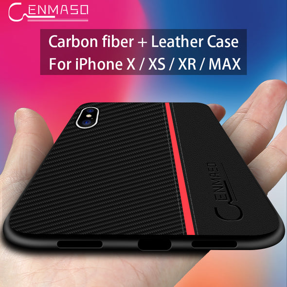 Fiber + Genuine Leather Back Cover For Iphone X XR XS Max