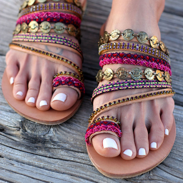 New Arrival Roman Style Women Summer Handmade Flat Sandals