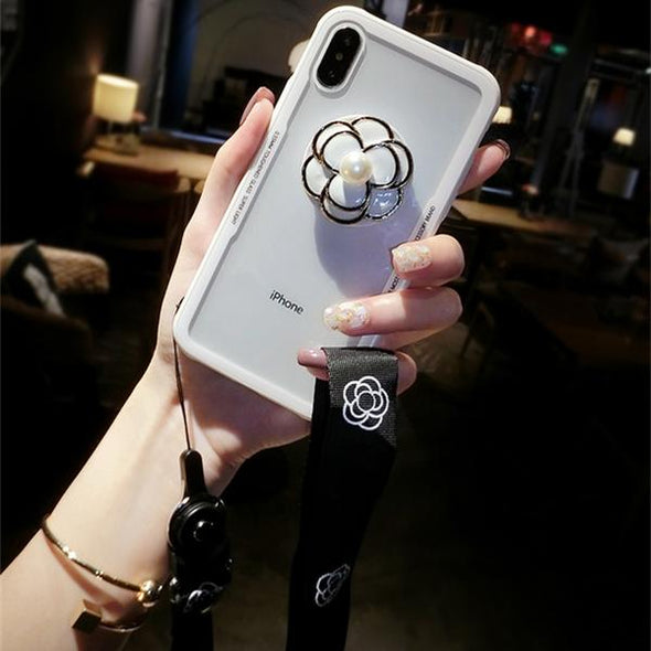 Cute 3D Camellia Pearl Flower hard soft phone case for iphone