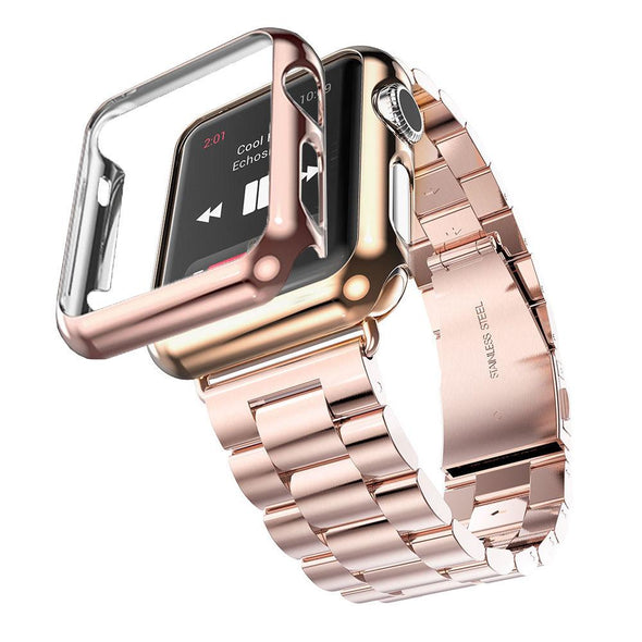 Stainless Steel Band for Apple Watch Series 2 Strap iWatch 2nd Watchband  Gold Plated Cover Bumper Case