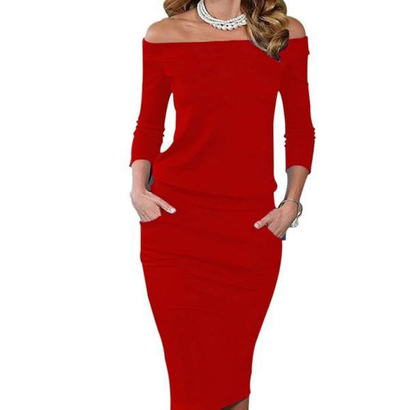 Dress - 3-4 Sleeve Slash Neck Off Shoulder Dress