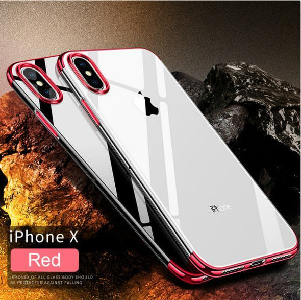Luxury Original Ultra Thin Transparent Clear Plating Shining Protective Phone Case For iPhone X 8/7 Plus