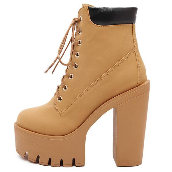 Fashion Women Lace Up Thick Heel Martin Boots