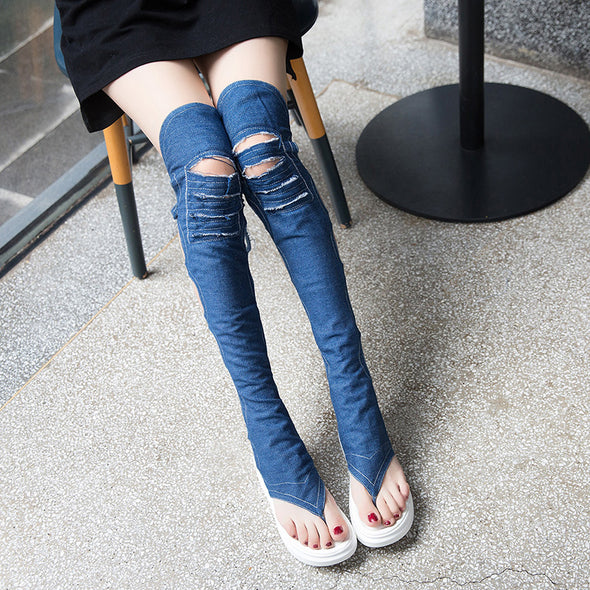 Women Fashion Thick Bottom Thigh High Over The Knee Denim Boots& Sandals