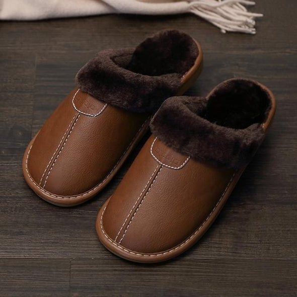 New Winter PU Leather Waterproof Warm Slippers