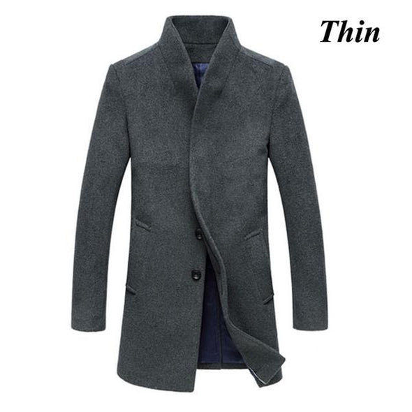 Fashion New Winter Long Slim Fit Casual Overcoat