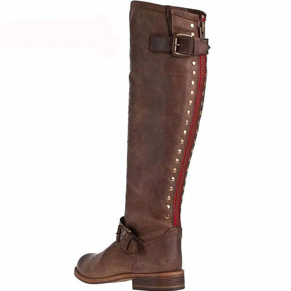 New Fashion Women Low Heels Knee High Motorcycle Boots