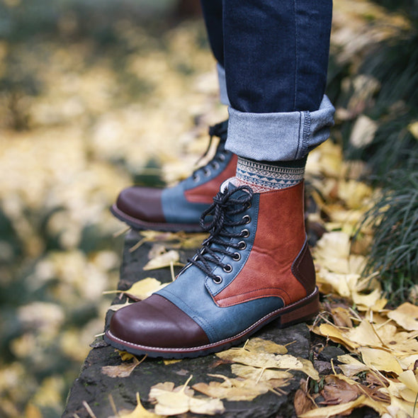 Fashion Men's Retro Style Mixed Colors High Quality Leather Martin Boots