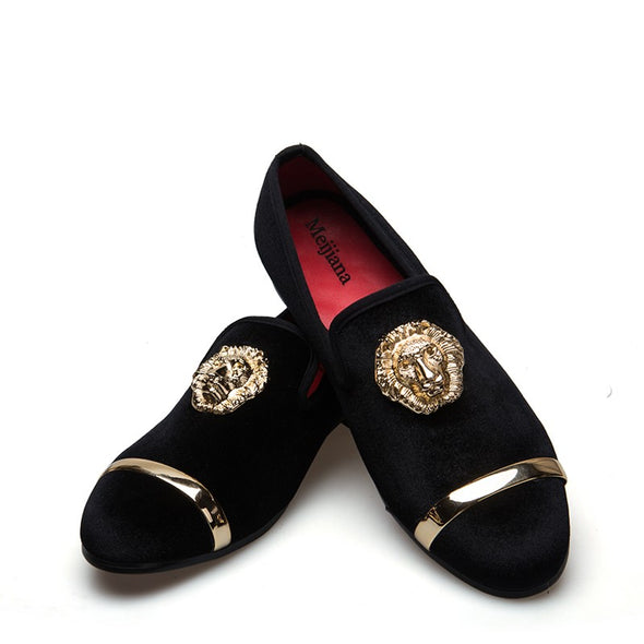 New Fashion Handmade Gold Top and Metal Toe Dress shoes