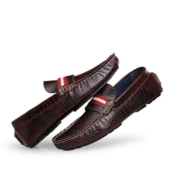 Genuine Leather Crocodile Loafers Men Driving Shoes