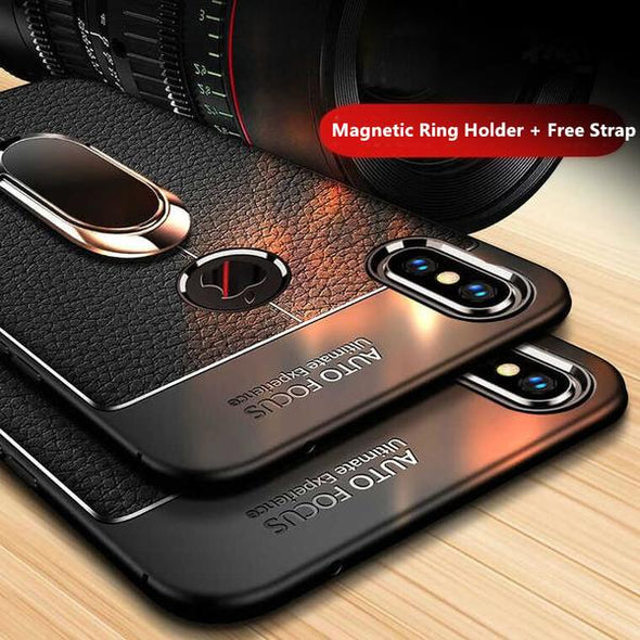 Luxury Litchi Leather Silicone Magnetic Car Holder Case For IPhone X/XR/XS/XS Max With Free Strap Gift