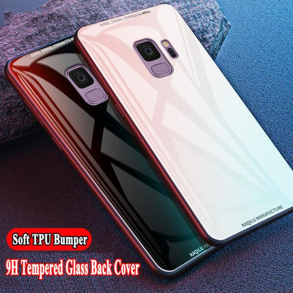 Luxury Shockproof Hybrid Soft TPU Silicone Bumper Silm 9H Tempered Glass For Samsung