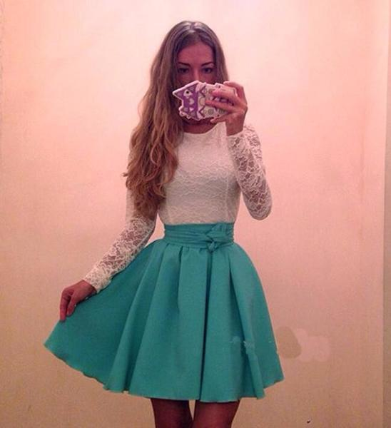 Dress - Long Sleeved Lace Casual Dress