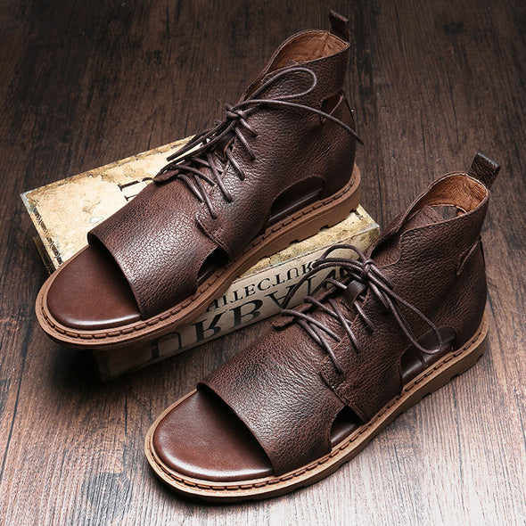 Men's Vintage Lace Up Leather Sandals