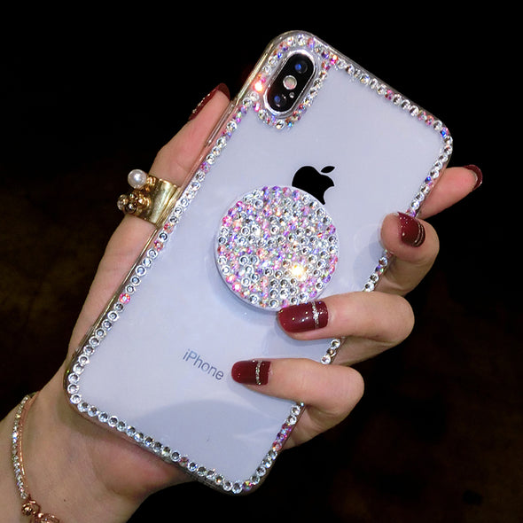 Bling Clear Thin Slim Transparent Diamond Stander Holder Cases For iPhone