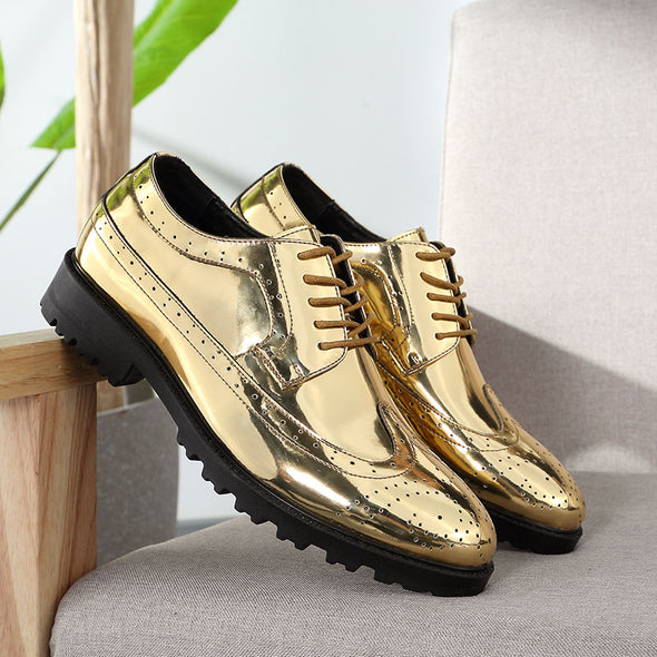 Full Brogue Shoes Men Dress Oxfords Shoes Carved PU Leather Shoes