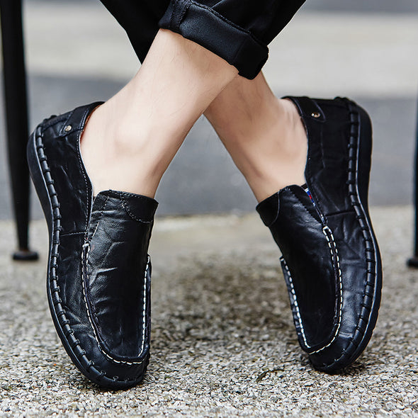 Men Genuine Loafers Casual Flats Shoes