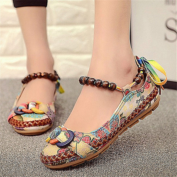 Women Summer Casual Flat Shoes Retro Floral Flats Beaded Ankle  Shoes