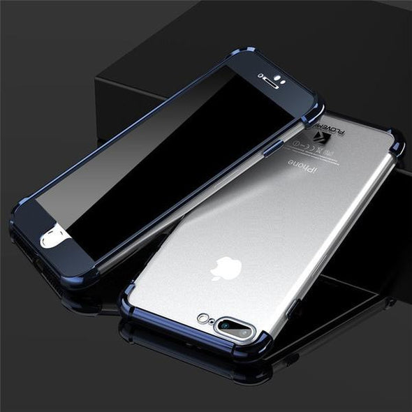 Phone Accessories - Luxury Soft Transparent Silicone Back + Hard PC Front Case For iPhone 6 6S 7 8 Plus X