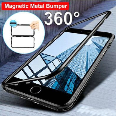Magnetic Adsorption Metal Bumper Tempered Glass Back Phone Case For Samsung