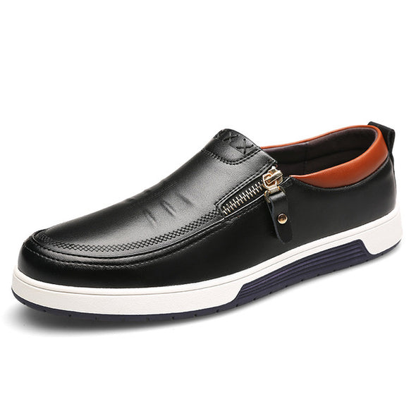 Men Leather Casual Shoes Zip Office Men Loafers