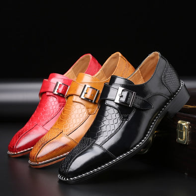 2020 Luxury Men Crocodile Pattern Buckle Business Flat Shoes