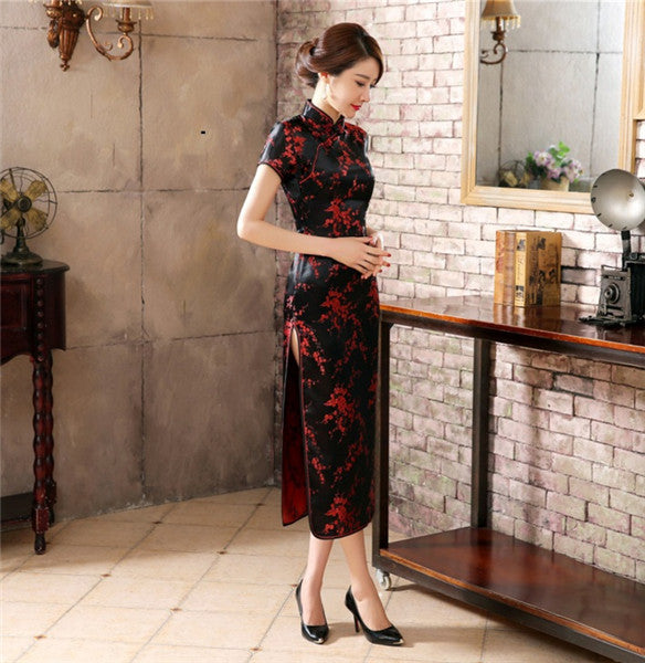 Chinese Traditional Dress Women's Silk Satin Cheongsam Qipao Short Sleeve Long Dress