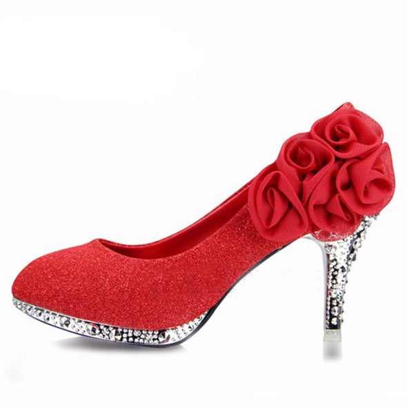 Red platform wedge heels sexy women