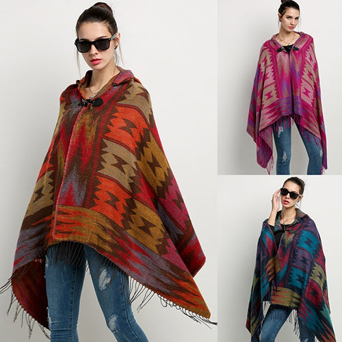 Women's Bohemian Blend Hooded Blanket Cloak Poncho Cape Outwear Coat Shawl