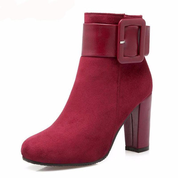 New Fashion High Heel Buckle Winter Ankle Boots