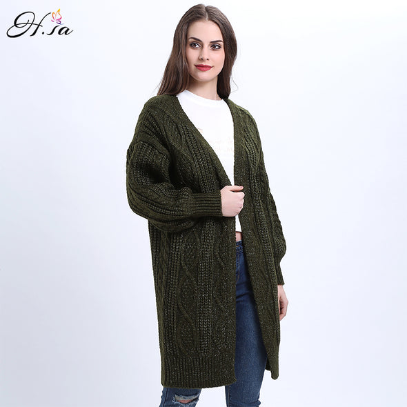 Women's V-neck Open Stitch Long Knitting Sweater