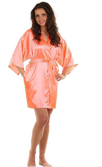 Sexy Large Size Silk Satin Night Robe Short Bathrobe Robes