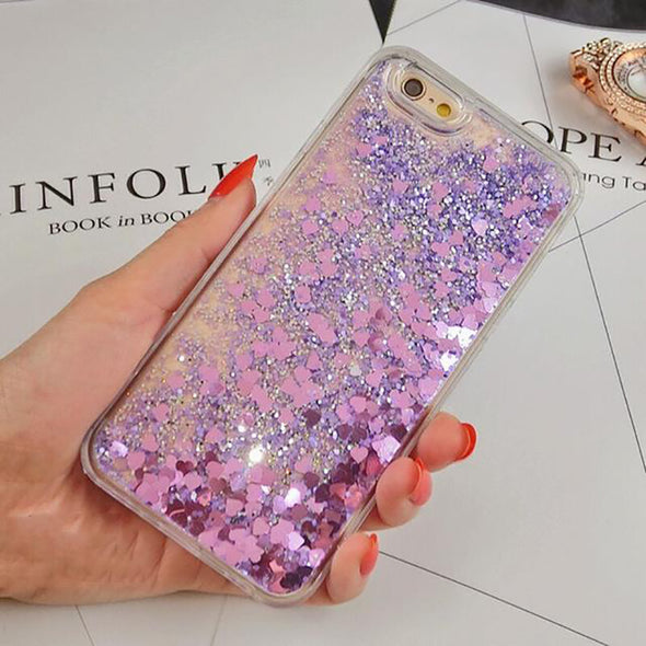 Love Heart Glitter Dynamic Liquid Cases For iPhone