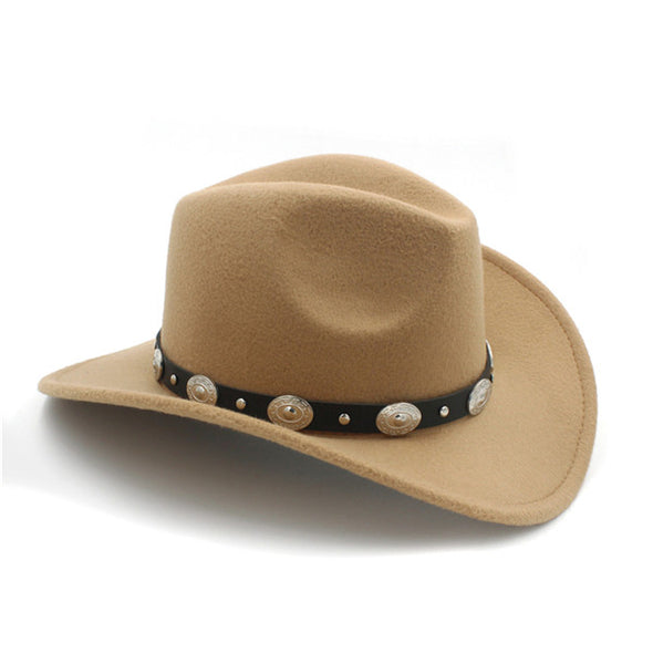 Western Cowboy Hat With Wide Brim Punk Leather Belt  Jazz Cap