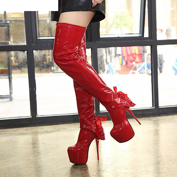 Winter Sexy Patent Extreme High Heels Boots