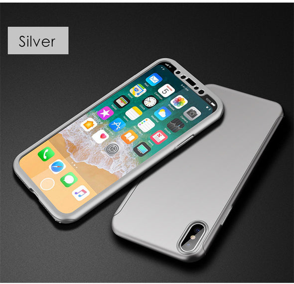 Front Case+Back Case+Tempered Glass 3-in-1 Full-Protection Shockproof Case For Iphone X