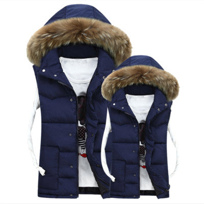 Plus Size 4XL Hooded  High Quality Winter Cotton Vests