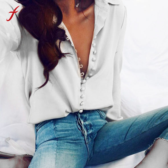 Women Casual Solid Long Sleeve Blouse Lapel Shirt