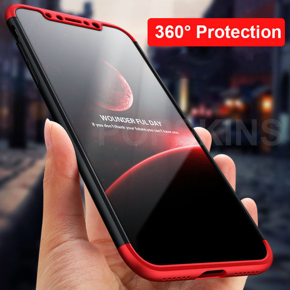 Combo 3 In 1 Matte Case for iPhone X 360 Full Body Protection Cover Cases For iPhone 8 8 Plus 7 7 Plus 6 6S
