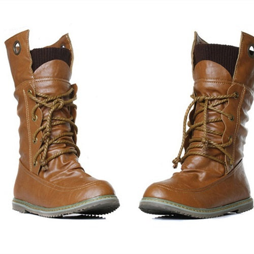 Female Round Toe Comfortable Mid-Calf Warm Boots