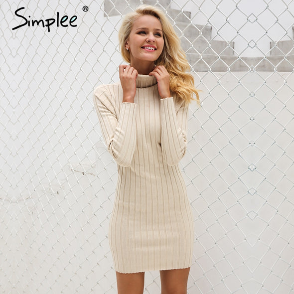 female Winter Casual turtleneck long knitted sweater dress