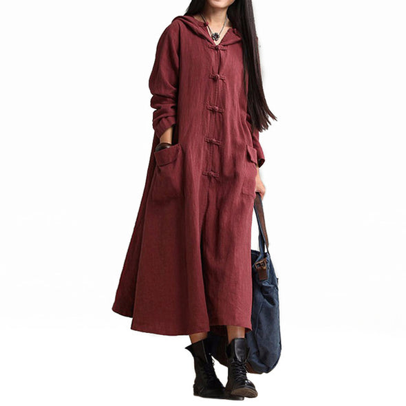 WOMEN LINEN LONG SLEEVE DRESS