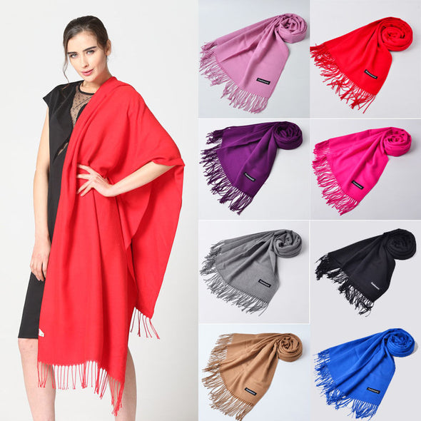 Women's Fashion Solid Cashmere Scarf Pashmina Shawl